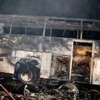 آتش سوزی اتوبوس اسکانیا/ خطر از بیخ گوش 26 مسافر گذشت