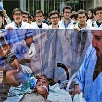 پزشكان در مقابل دفتر نمايندگي سازمان ملل در تهران تجمع ميكنند