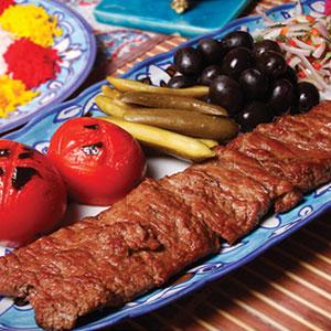 چلوکباب با طعم پوست مرغ و سنگدان